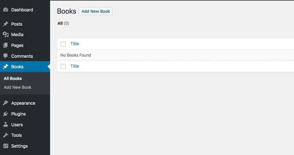 管理画面の「books」投稿タイプ