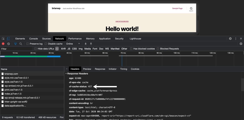 ブラウザインスペクターを使用してCloudflareのキャッシュ状況を確認する