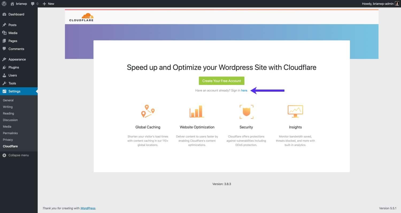 Cloudflareのアカウントへのサインイン