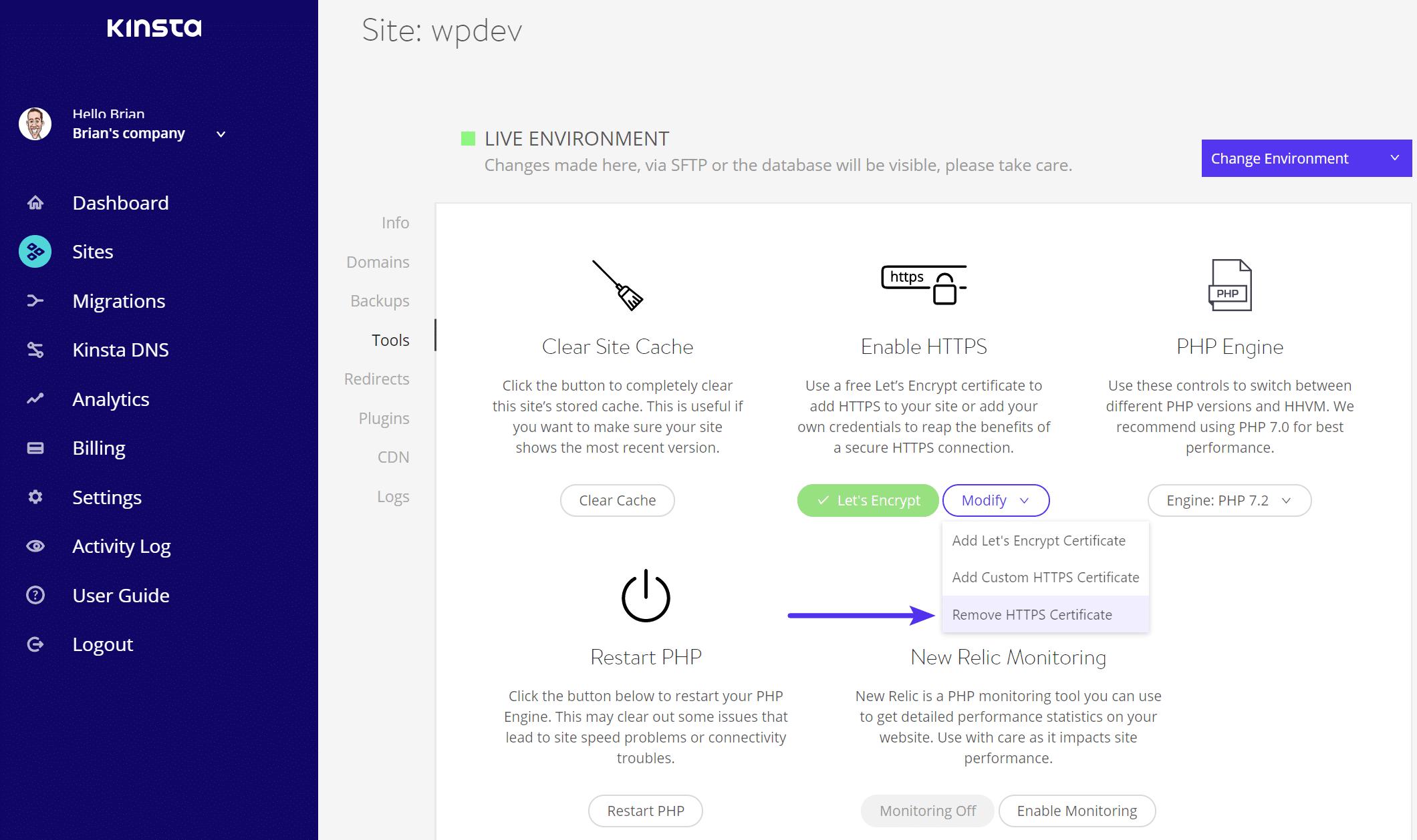 HTTPS証明書を削除する