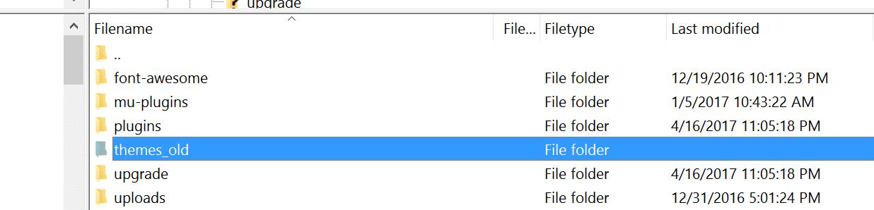 WordPressの「themes」フォルダの名前を変更する
