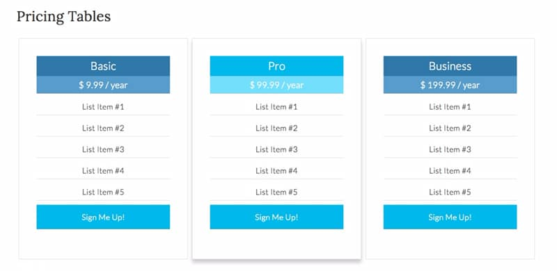 pricing table in wordpress with code