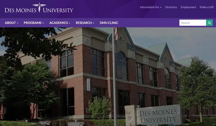 デモイン大学のwordpressサイト