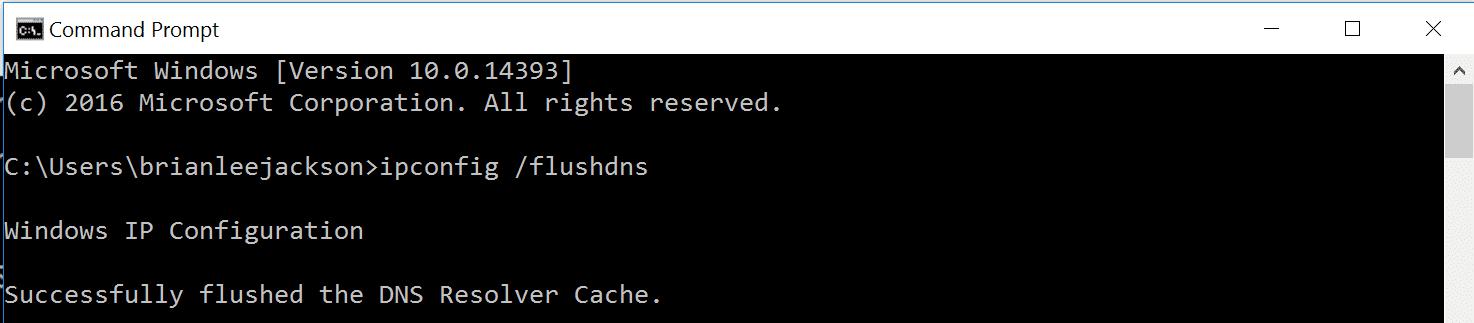 DNSリゾルバーキャッシュは正常にフラッシュされました