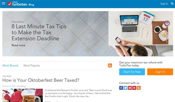 intuit turbotaxブログのwordpressサイト