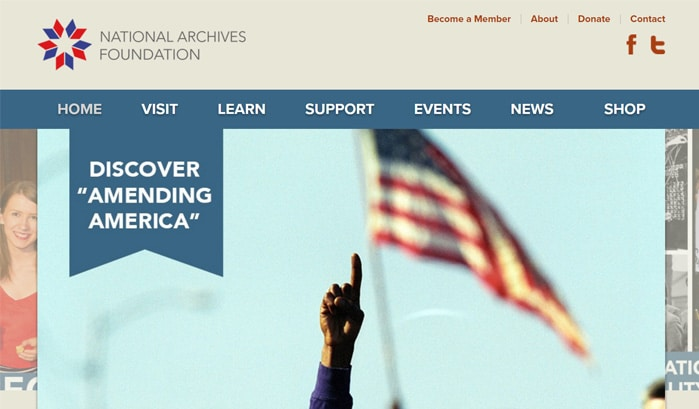 national archives foundationのwordpressサイト