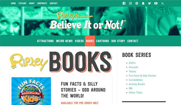 ripley's believe it or not のwordpressサイト
