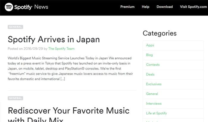 spotifyニュースのwordpressサイト