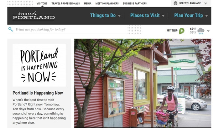 travel portlandのwordpressサイト