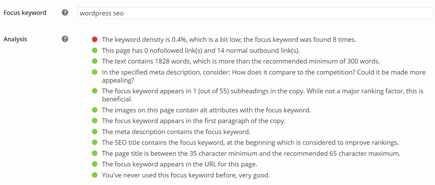 重点キーワード「WordPress SEO」