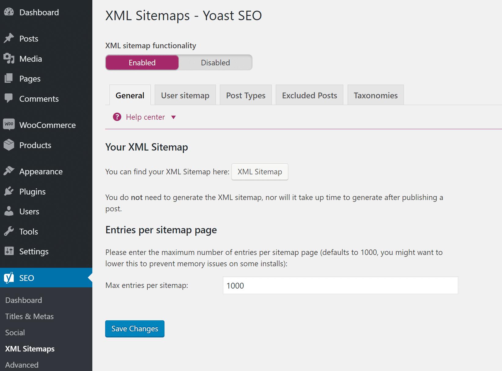 WordPress XMLサイトマップファイル