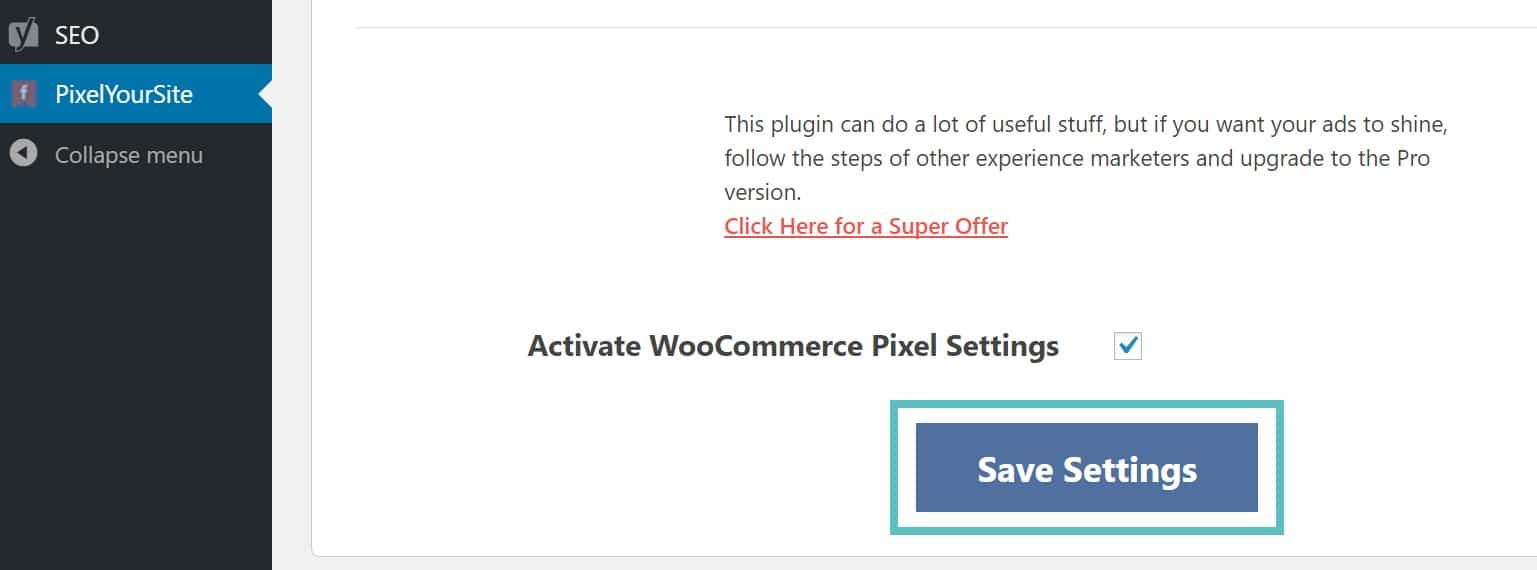 WooCommerceのピクセル設定を有効にする