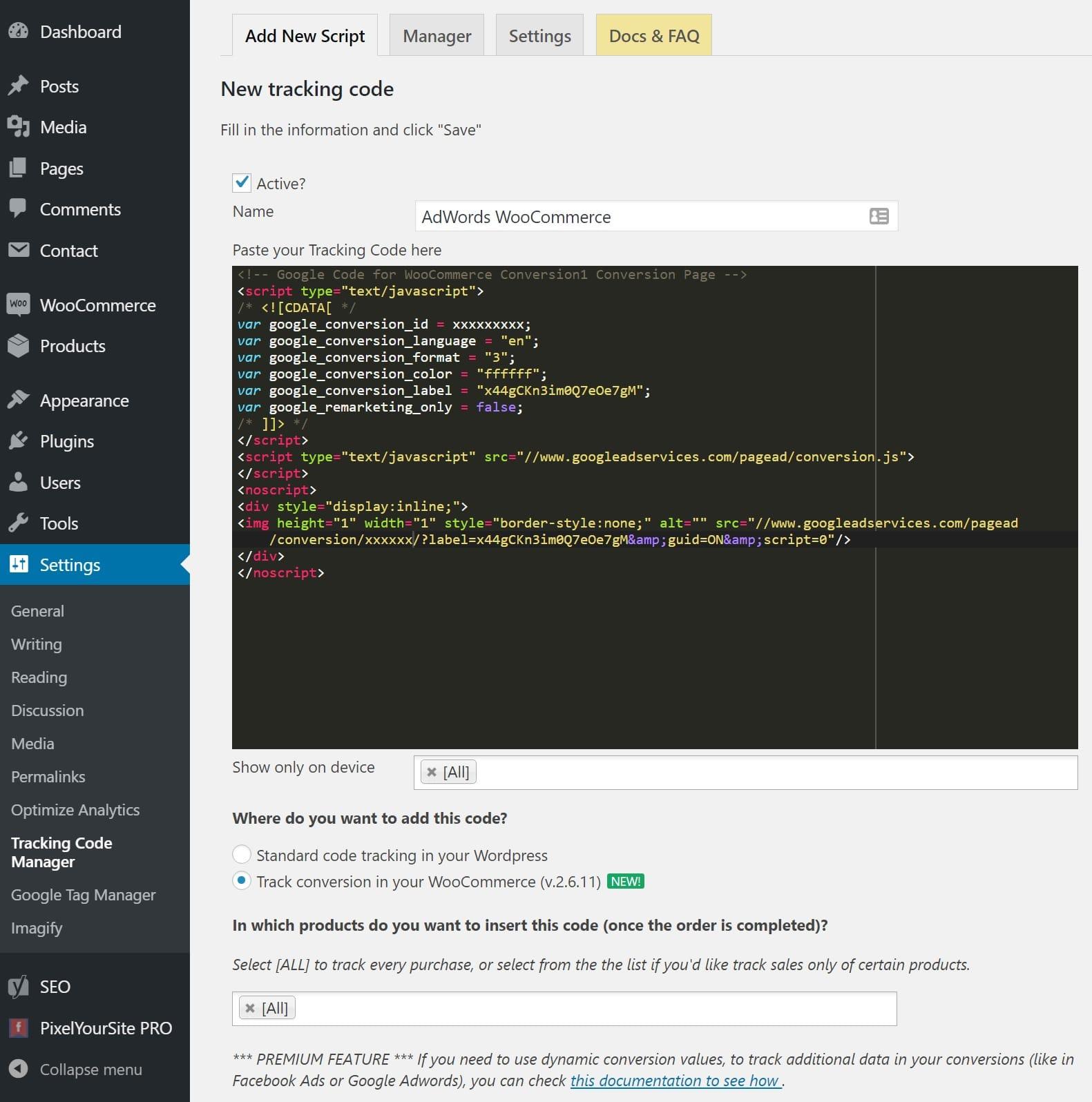 AdWordsのWooCommerceピクセルを追加する
