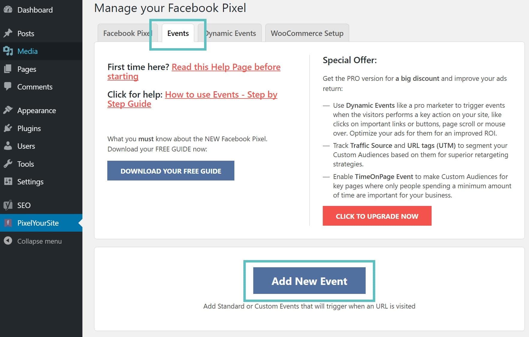 facebook pixel新規イベントの追加