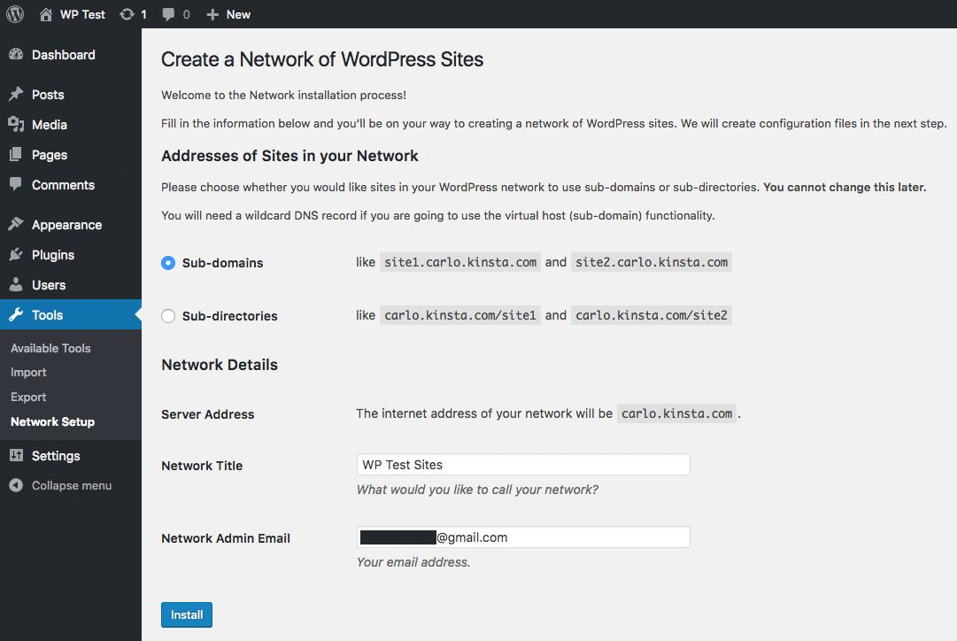 WordPressマルチサイトインストール中にサブドメインを選択する方法