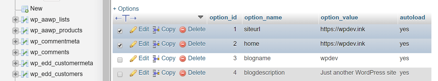 WordPressデータベースのsiteurlとhomeの行