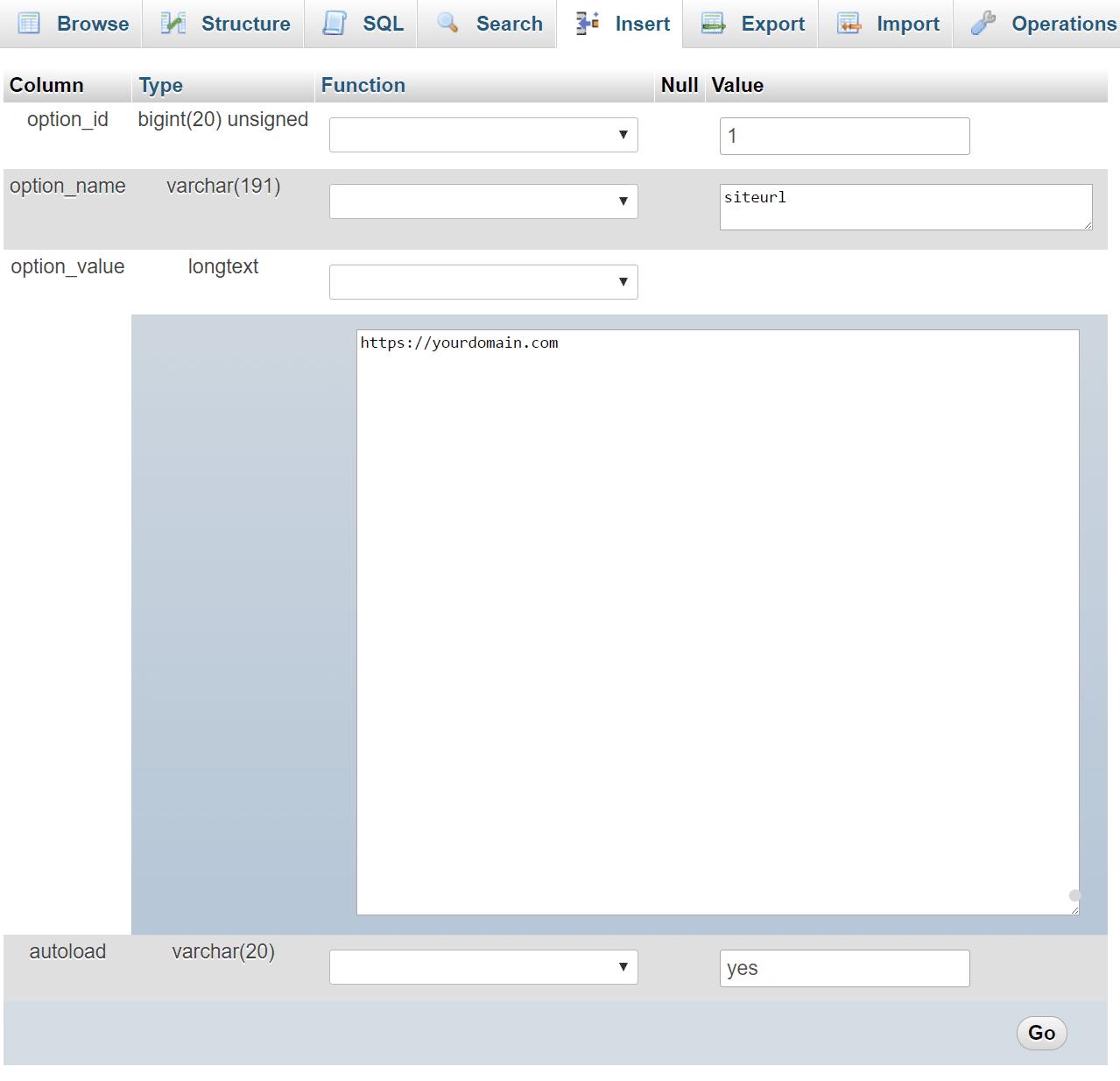 siteurlの値を編集する