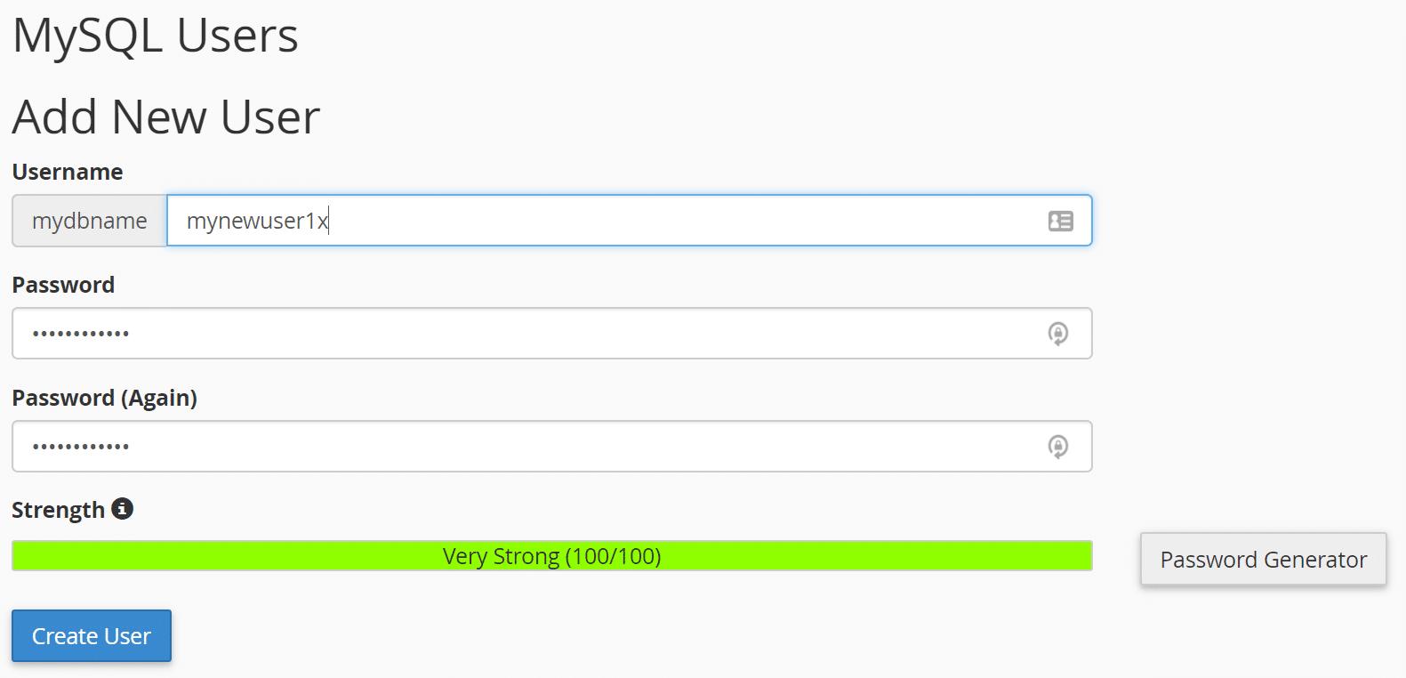 新しいMySQLユーザーを作成する