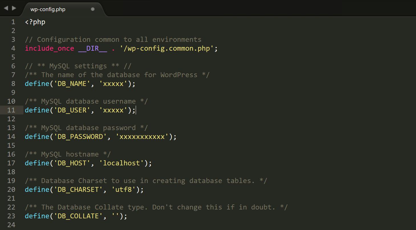wp-config.phpの認証情報