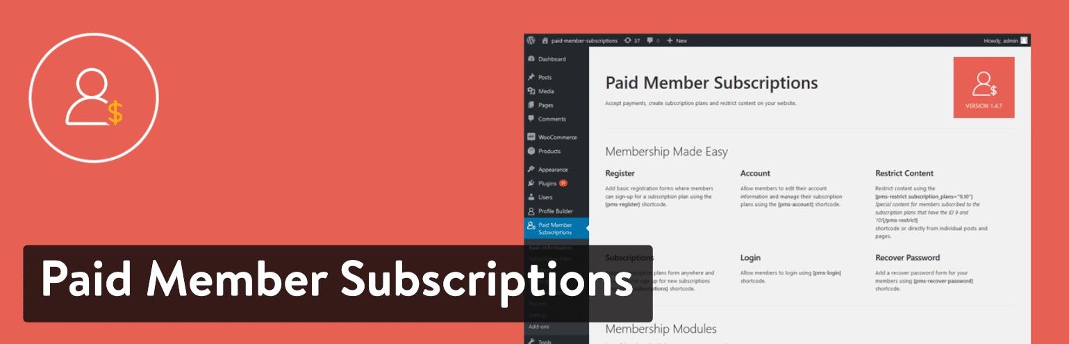 WordPressプラグイン「Paid Member Subscriptions」