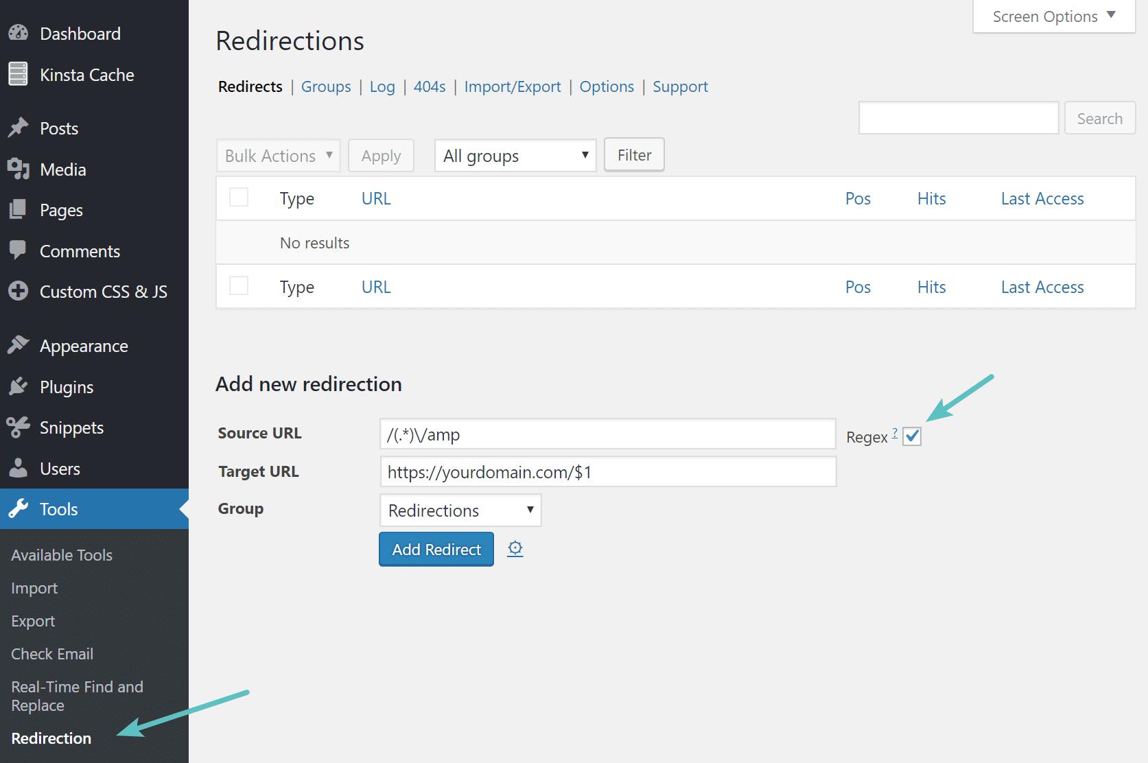 Redirectionsの正規表現