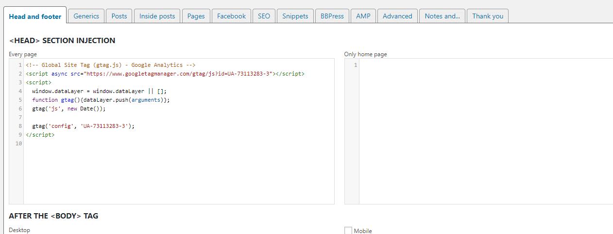 ヘッダーへのコードの追加の例