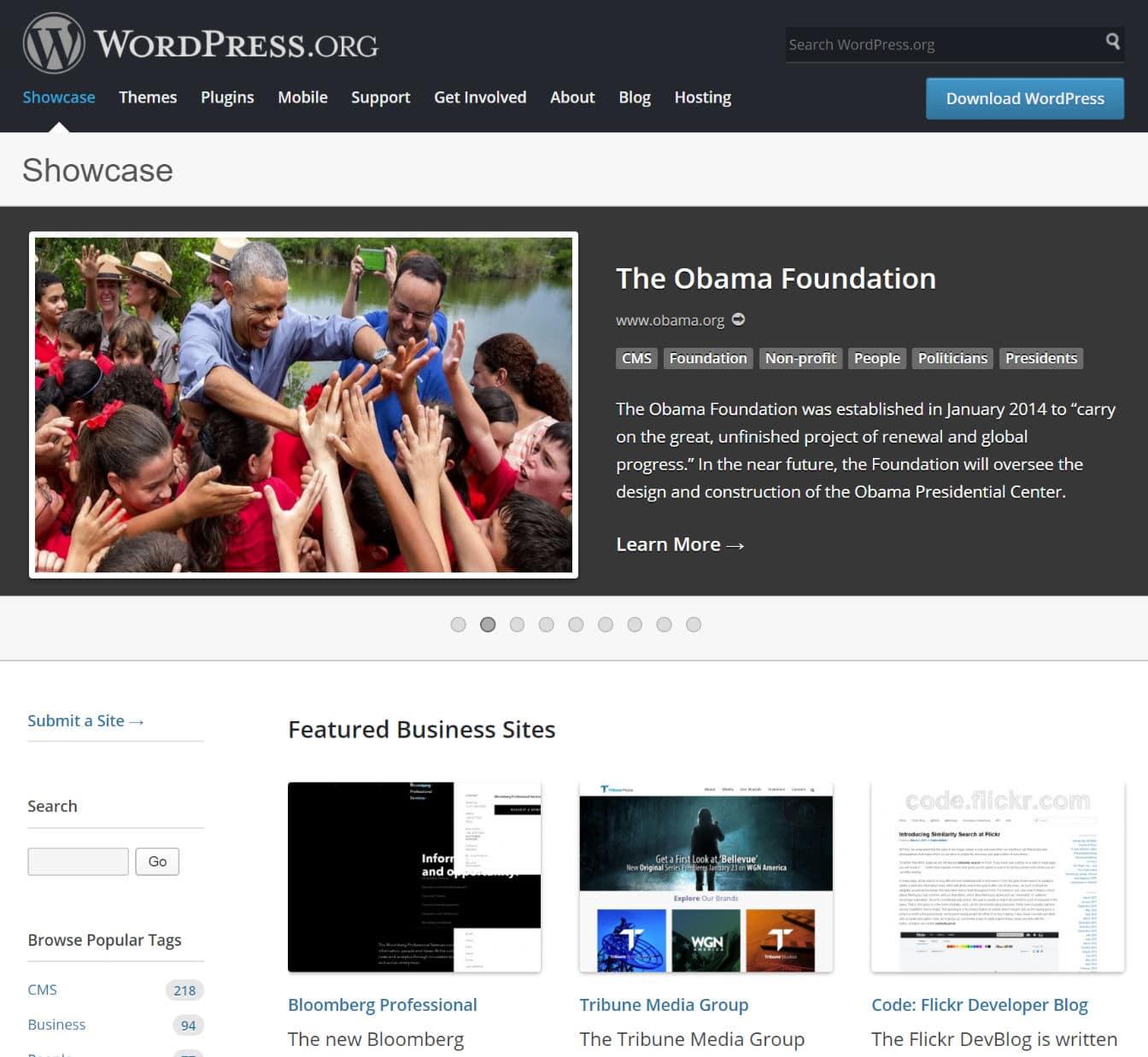 WordPressを使用しているウェブサイト
