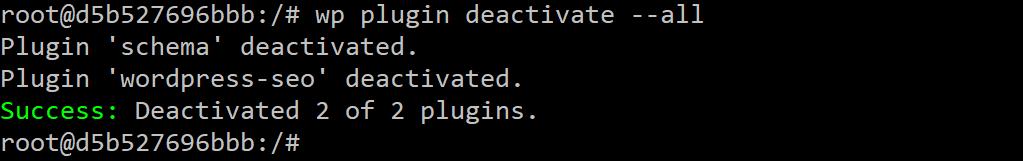 WP-CLIでのすべてのプラグインの非アクティブ化