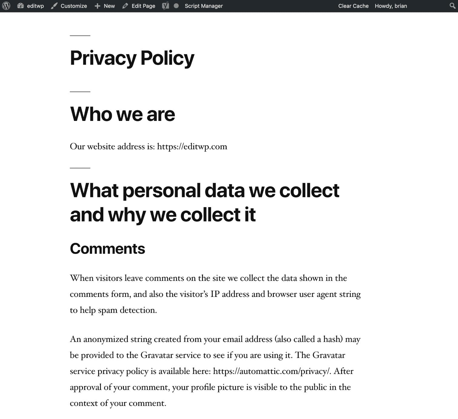 WordPressのプライバシーポリシーページの例