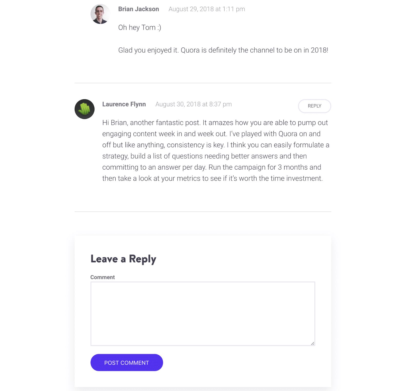 WordPress独自のコメントシステム