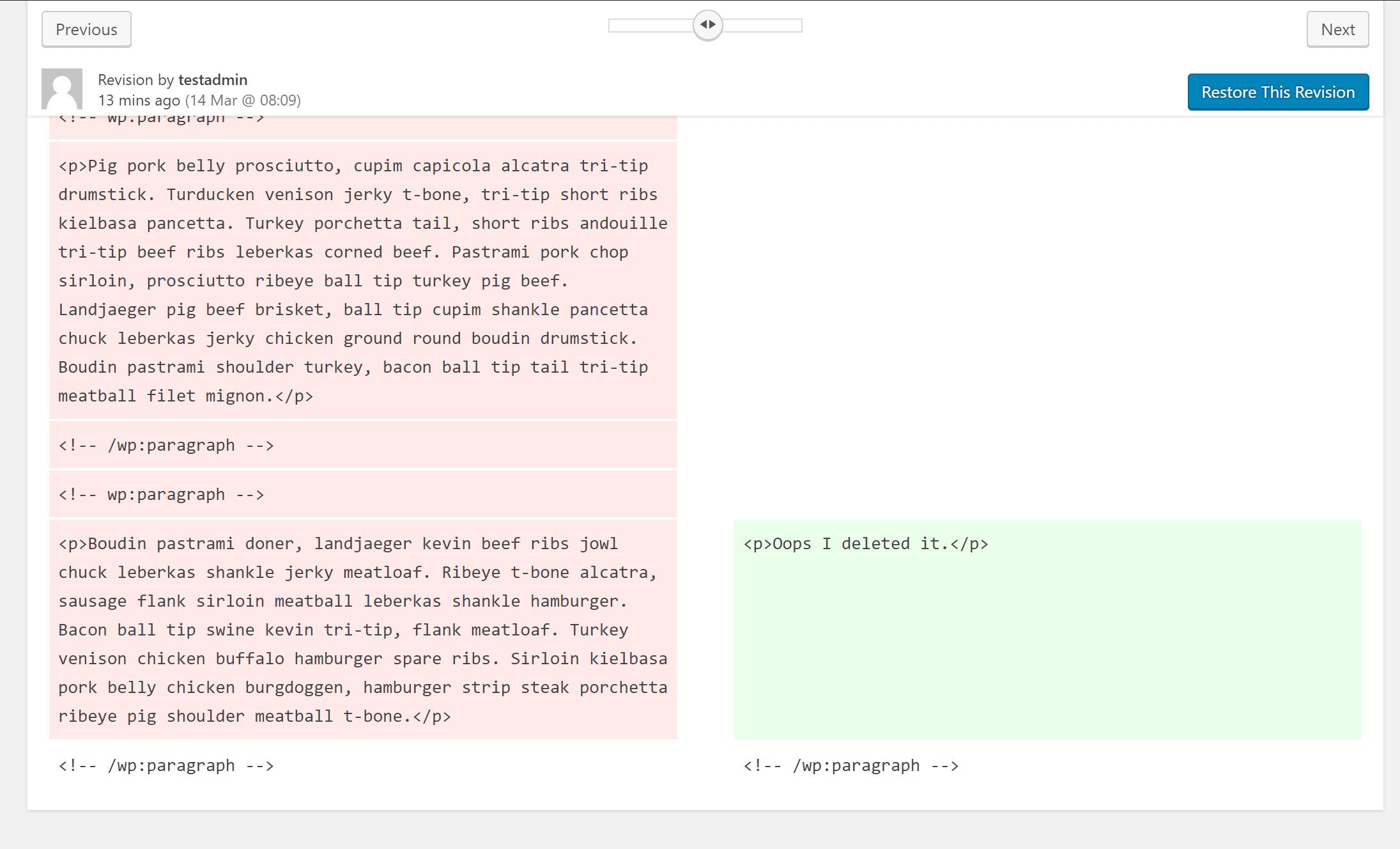 リビジョン間の追加されたまたは削除された内容が色分けされる