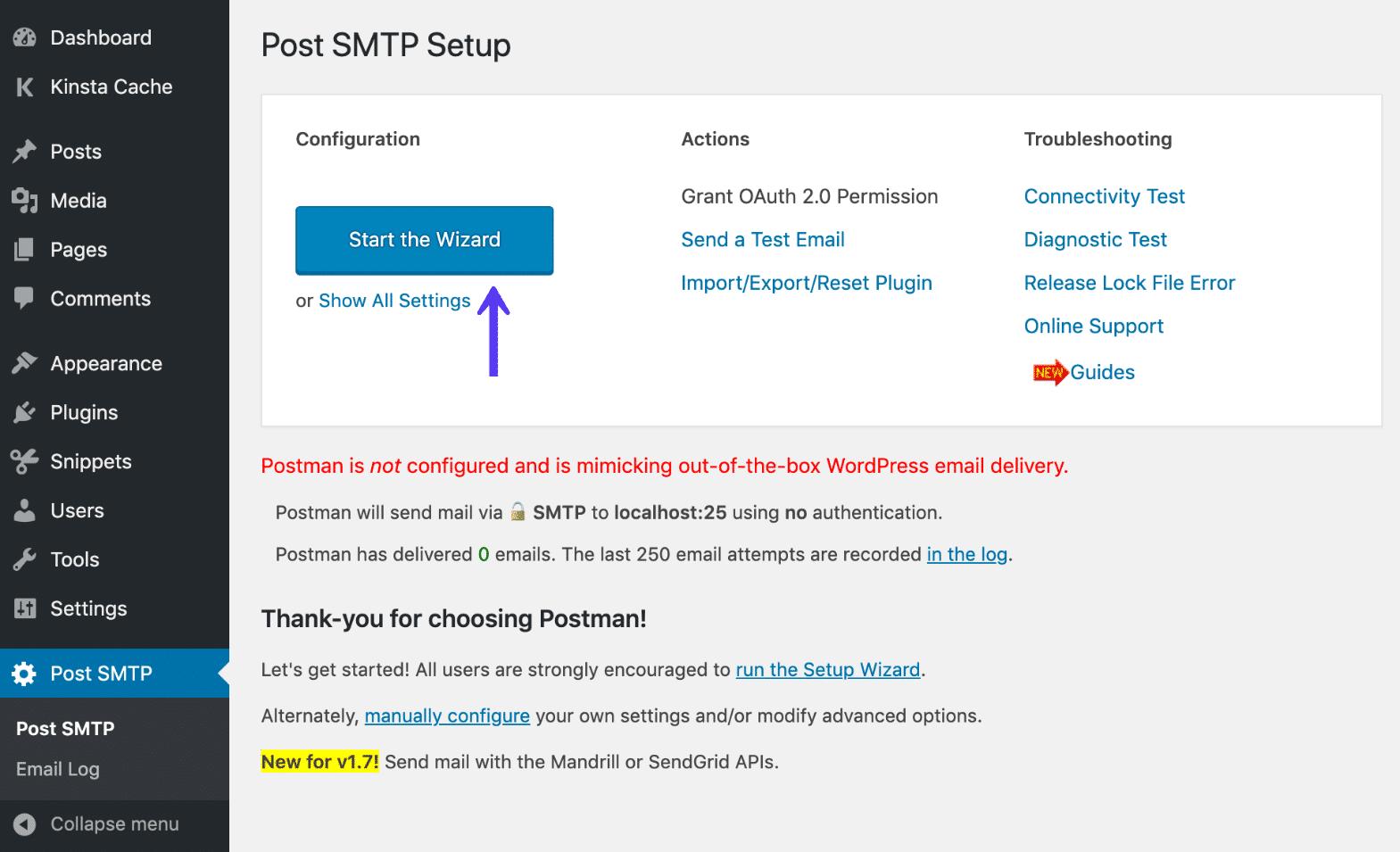Post SMTP ウィザード