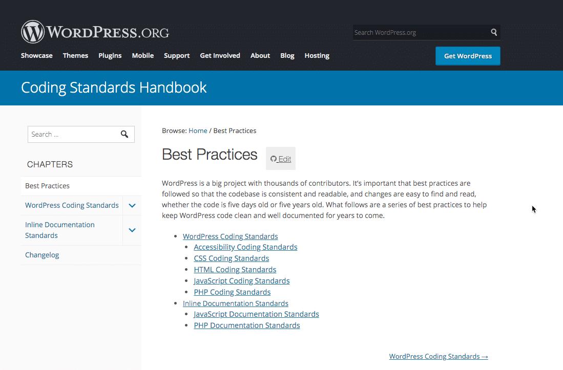 ハンドブックのWordPress コーディング標準