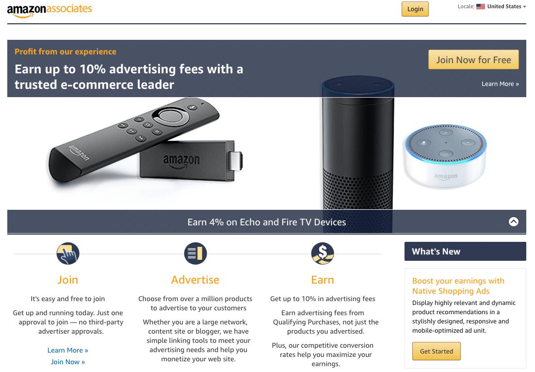 Amazon Associatesのウェブサイト