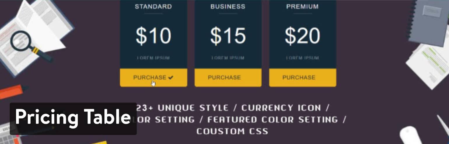 Pricing Table – 価格表、価格リスト、簡単に使える価格表