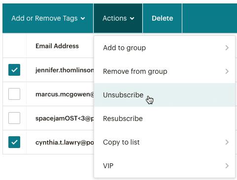 Mailchimpのオーディエンスの購読中止の画面