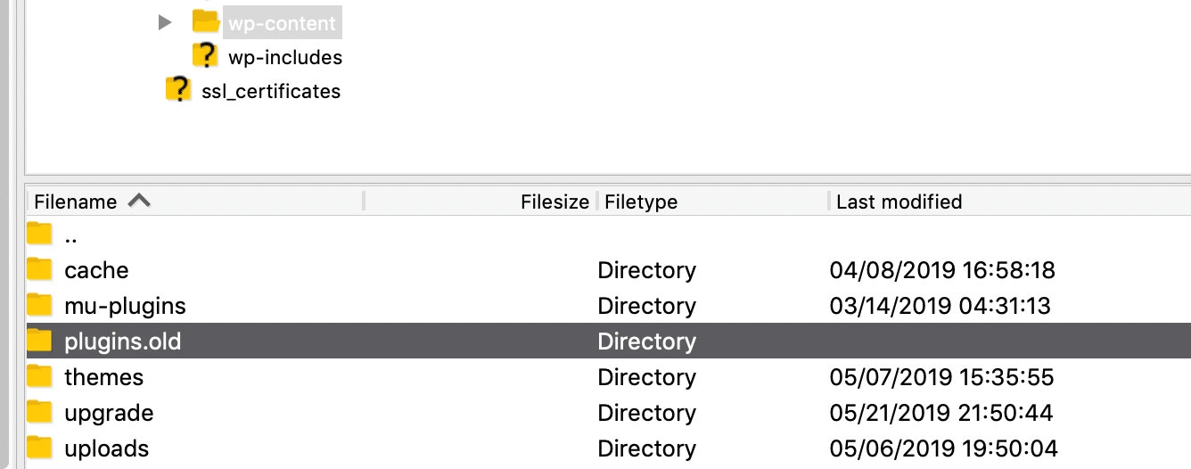 名称変更後のWordPress pluginsフォルダ