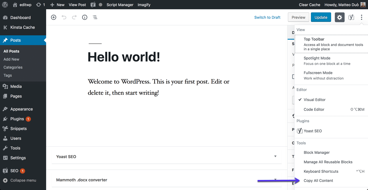 WordPressのすべてのコンテンツをコピーするオプション