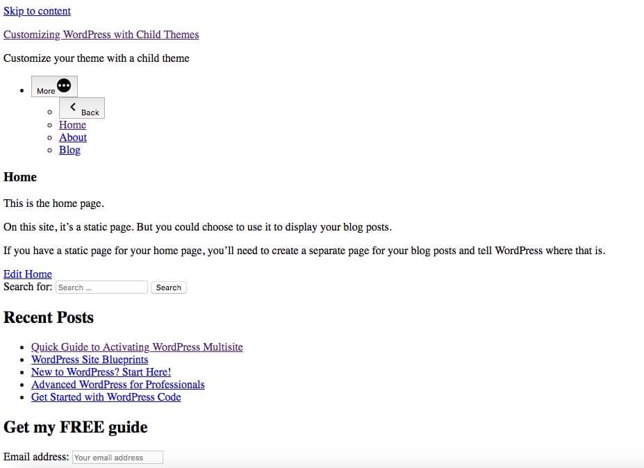 CSSのない状態のトップ画面