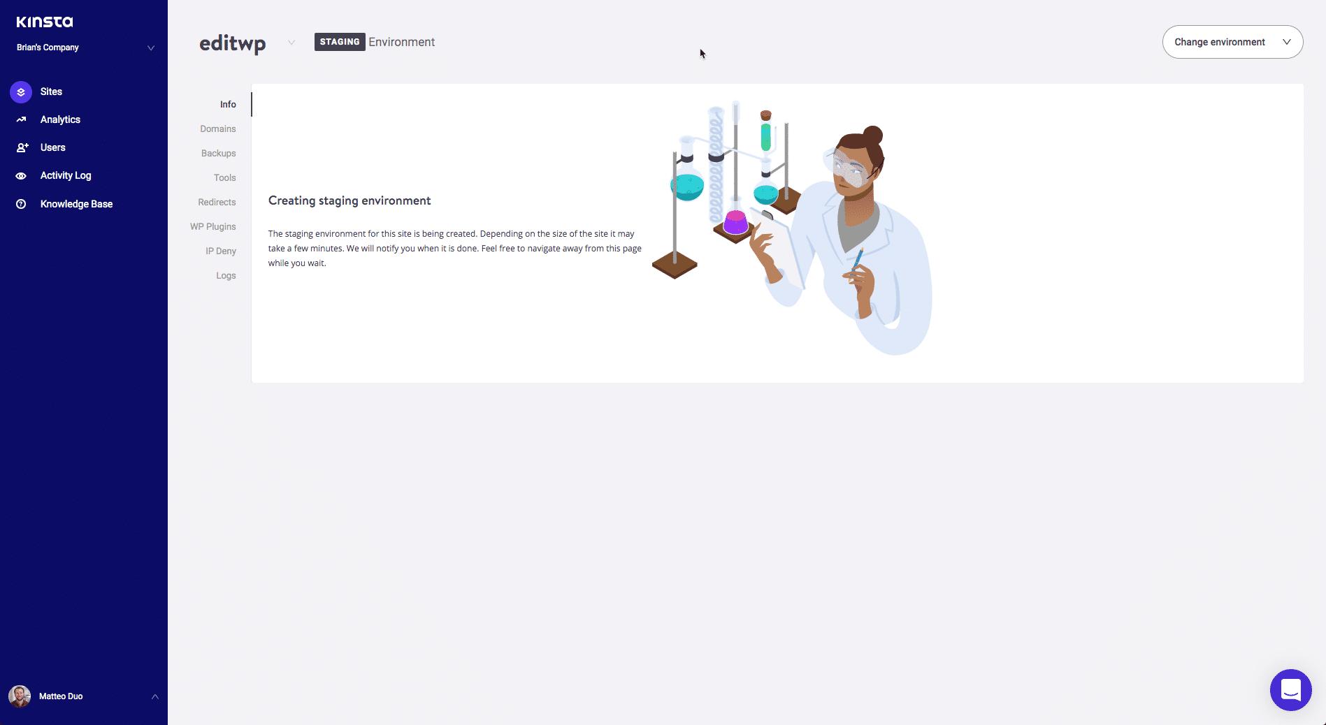 MyKinstaで作成されたステージングサイト