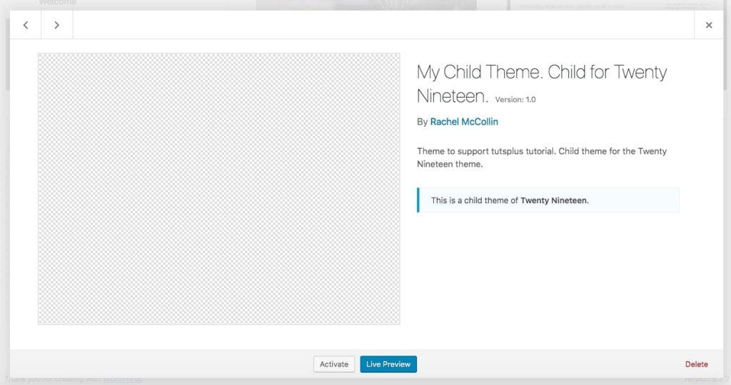 スクリーンショットのないWordPressのテーマページ