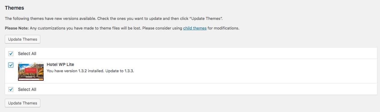 WordPressのテーマの更新