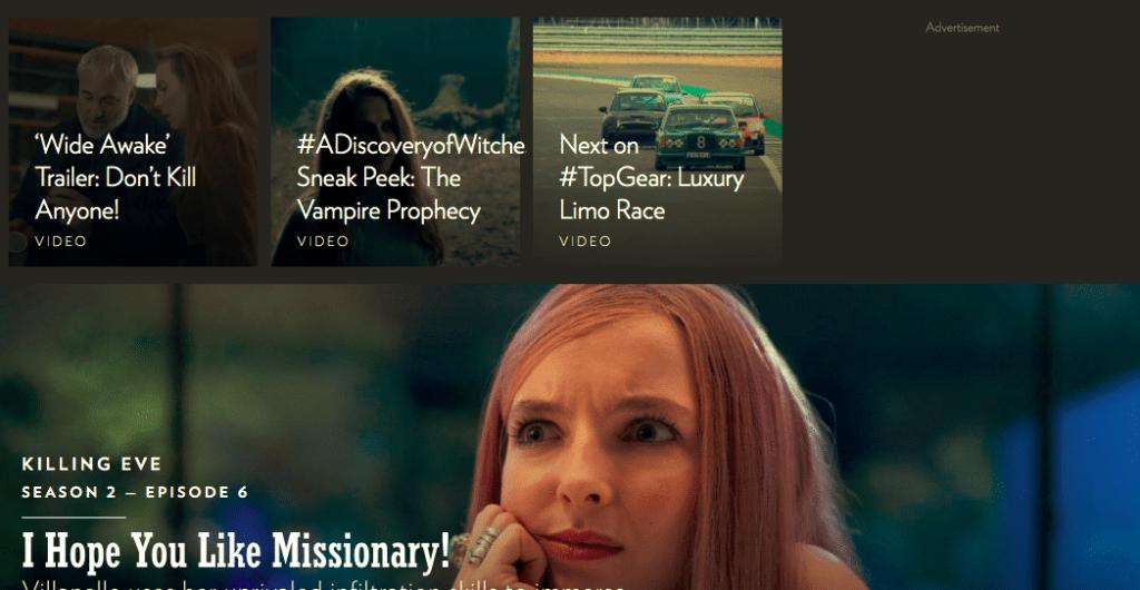 BBCアメリカのウェブサイト