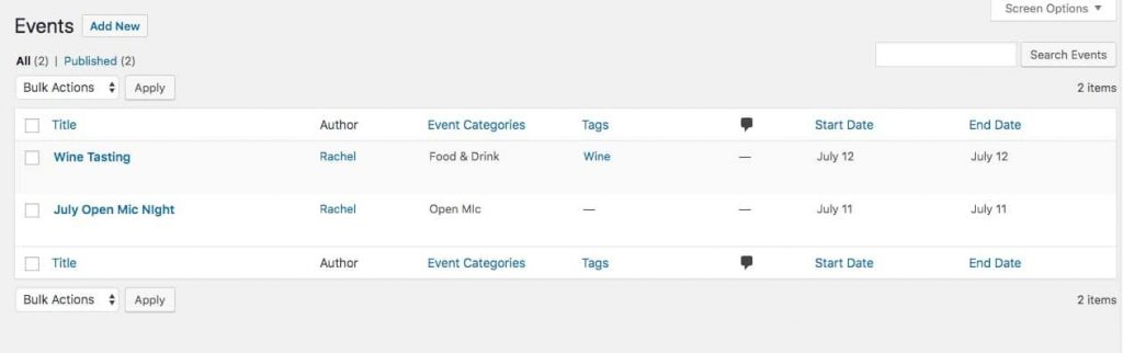 Events Calendarプラグインにより作成されたイベント