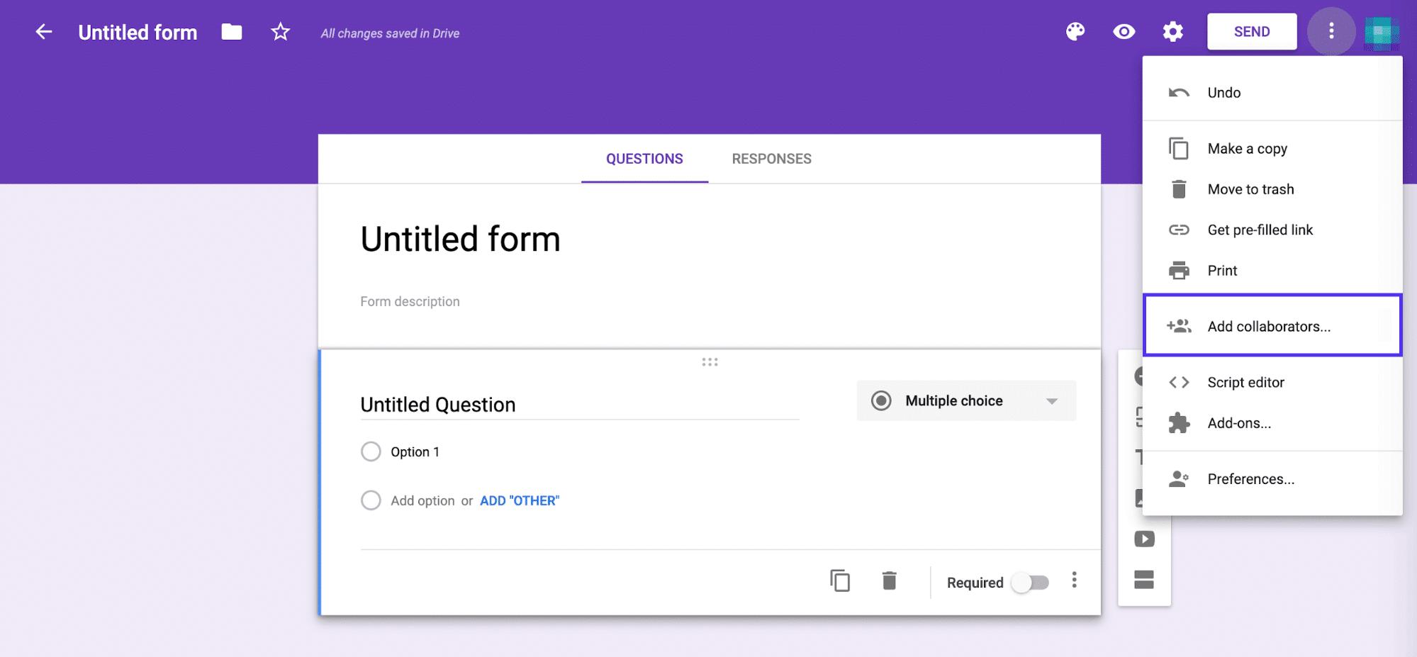 共同編集者をGoogleフォームに追加する