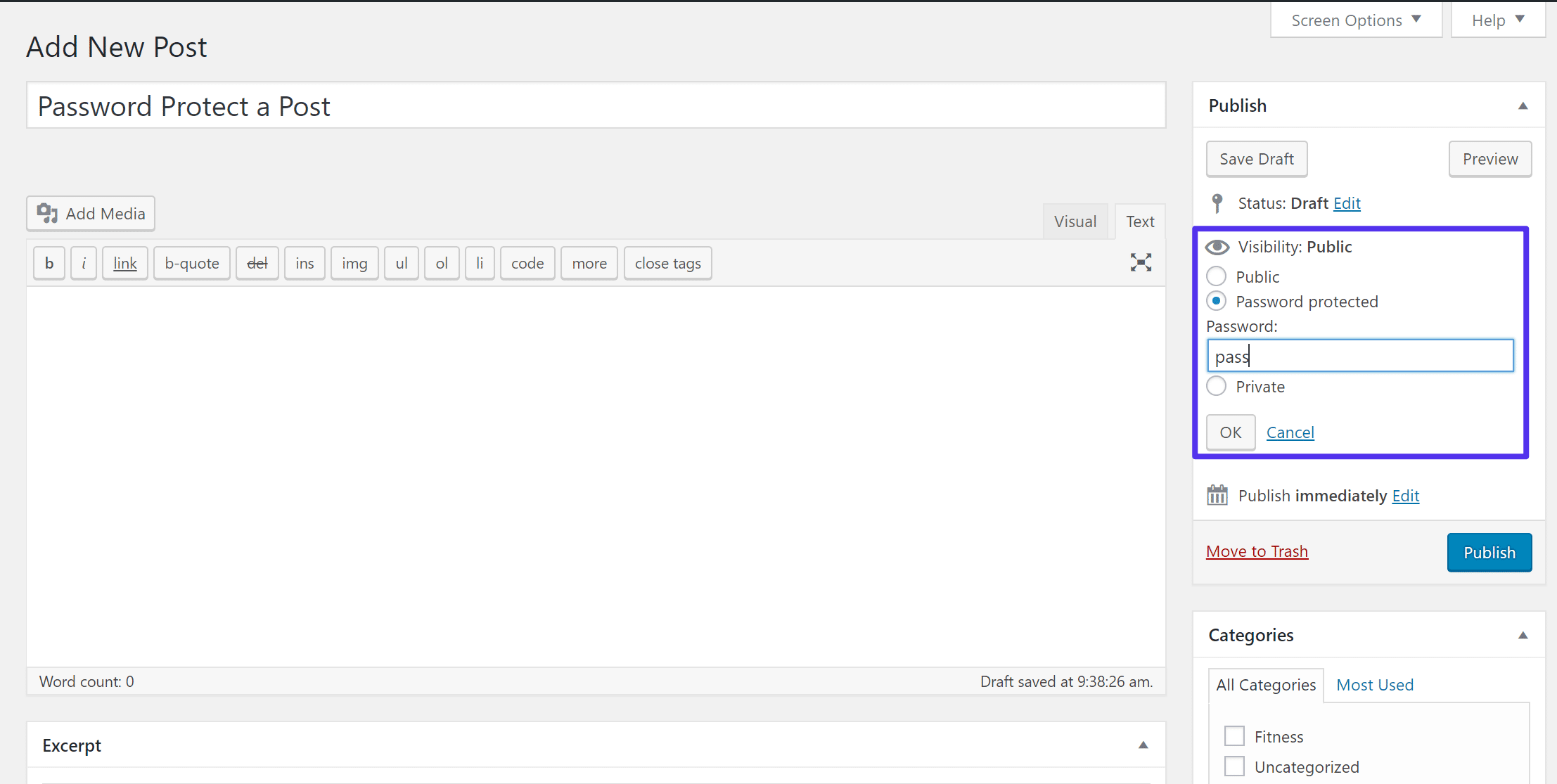 WordPress「公開状態」設定の場所