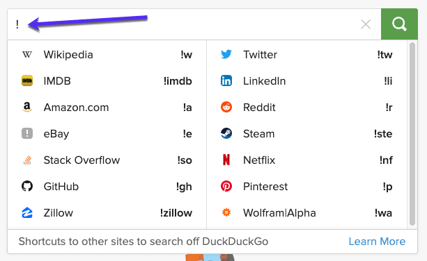 DuckDuckGoのBang検索