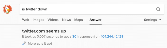 DuckDuckGoでのウェブサイトのステータスの検索結果