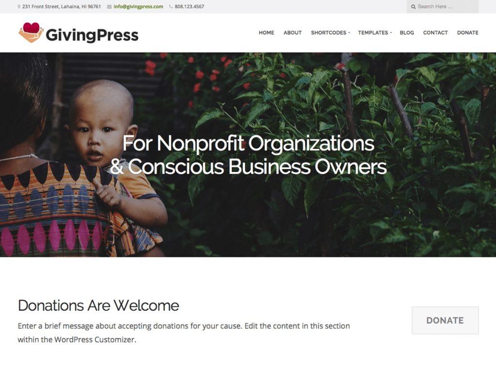 テーマ「GivingPress Lite」