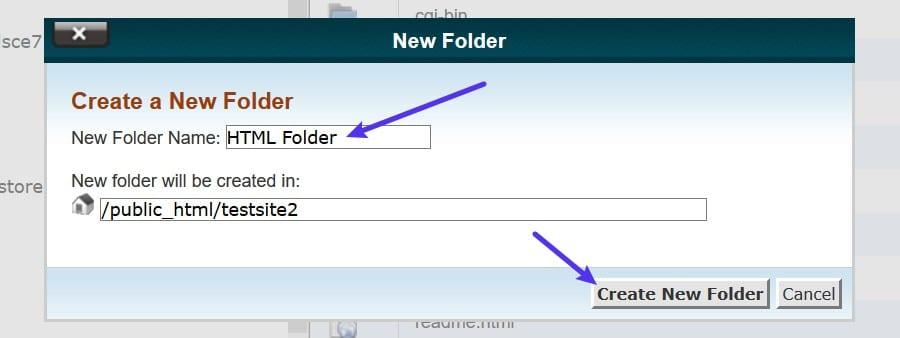 cPanelで新しいフォルダーを作成する